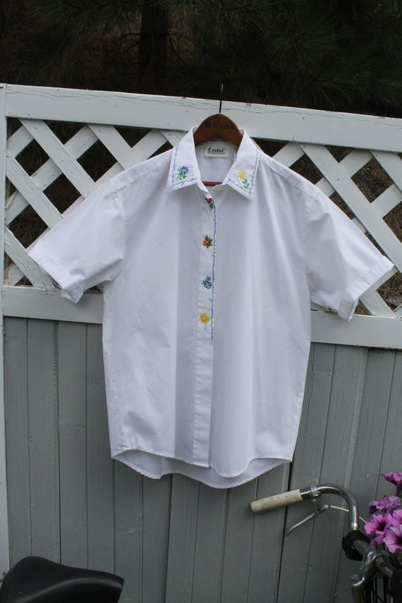 White Cotton Shirt, Embroidered White Shirt, Crisp