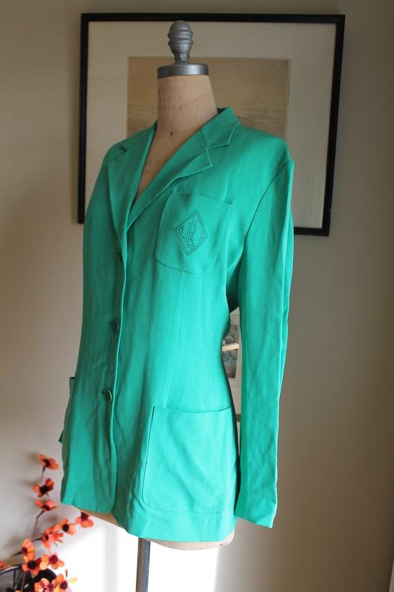 Ralph Lauren Green Silk Blazer - US 12 - Preppy G… - image 5