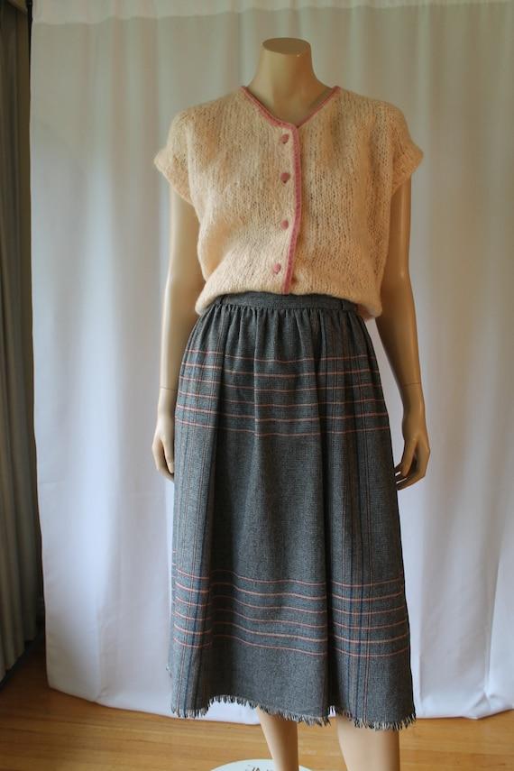 Sonia Rykiel Ruffle flounce skirt gray A line with gathered wool frill 38 small