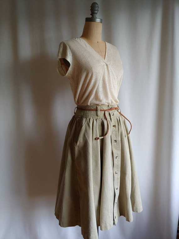 80s denim Ralph Lauren riding skirt cowgirl khaki… - image 9