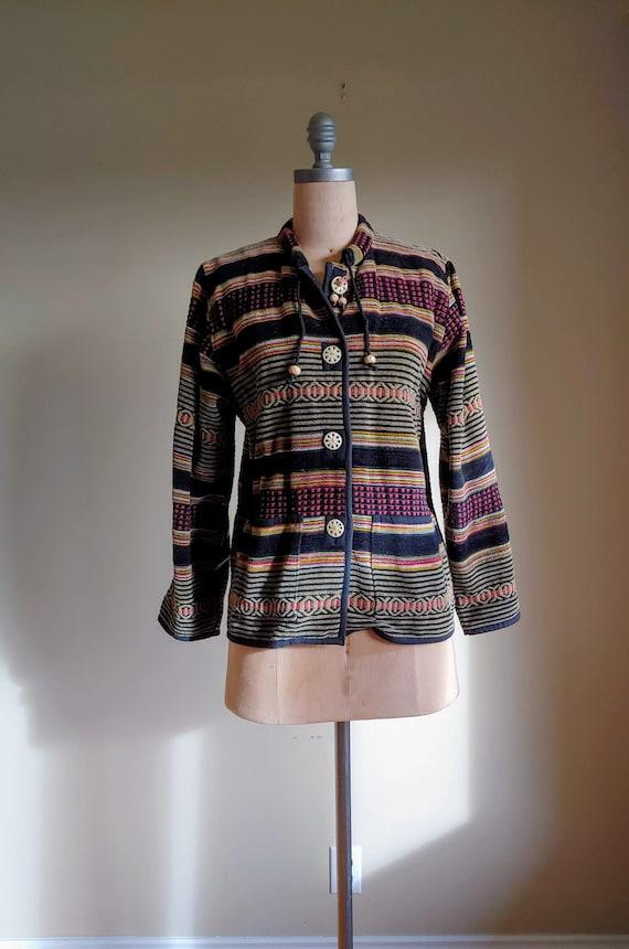 Bohemian Ikat Tapestry Carpet Coat Chore Jacket Lo