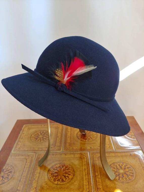 70s navy brimmed floppy felt fedora Edwardian hat
