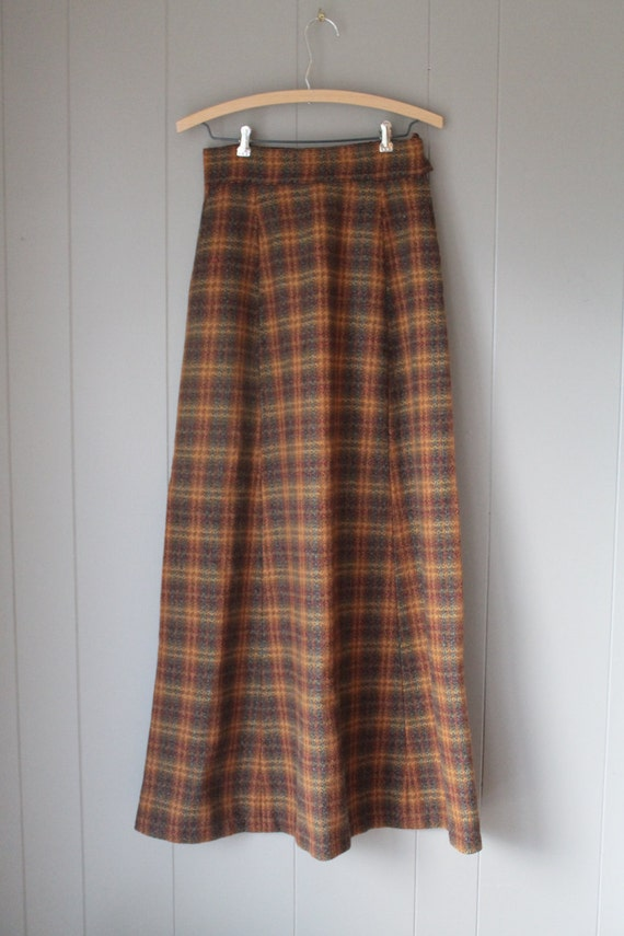 60s 70s Wool Maxi Skirt, Laura Ashley Style Skirt,