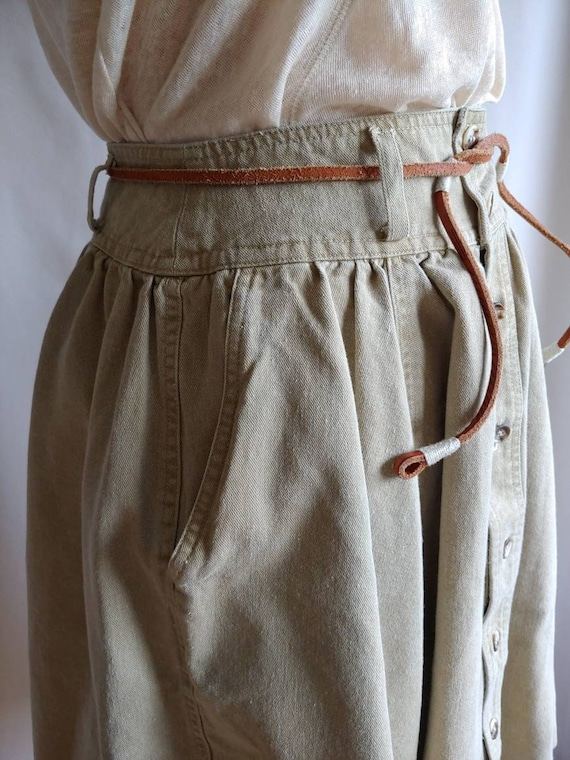 80s denim Ralph Lauren riding skirt cowgirl khaki… - image 6