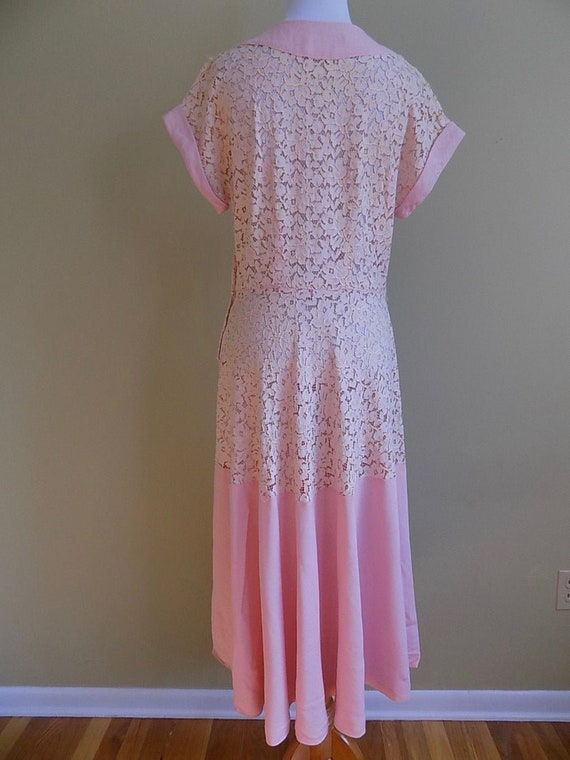 1930s 30s 1940s 40s Pink Lace and Linen Pink Peac… - image 6