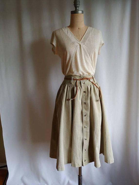 80s denim Ralph Lauren riding skirt cowgirl khaki… - image 7