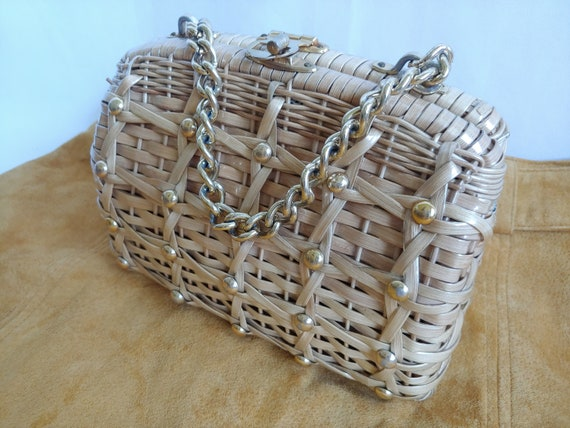 60s Wicker Purse - 1960s Wicker Purse with Studs … - image 4