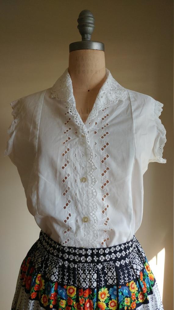 White eyelet blouse, vintage cotton blouse, 60s co