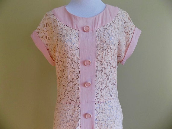 1930s 30s 1940s 40s Pink Lace and Linen Pink Peac… - image 4