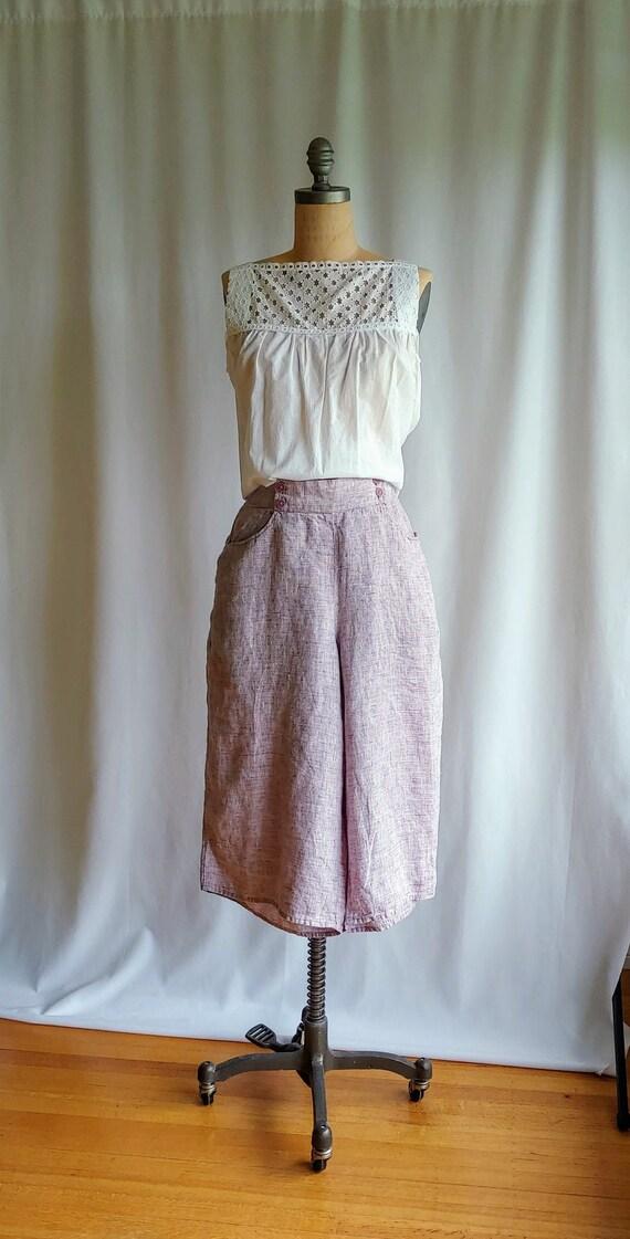 FLAX Linen Culottes - 32-40 inch waist - Woven Lin