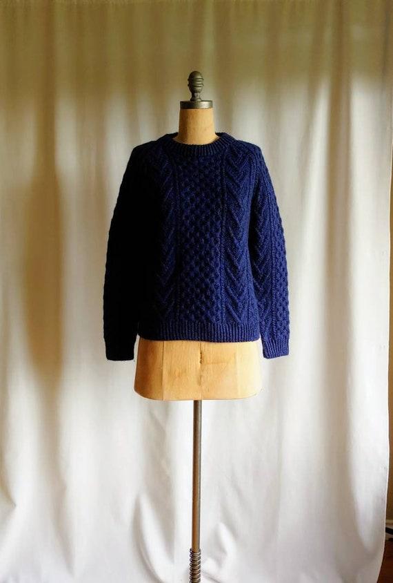 Irish Aran sweater chunky thick cable knit 80s box