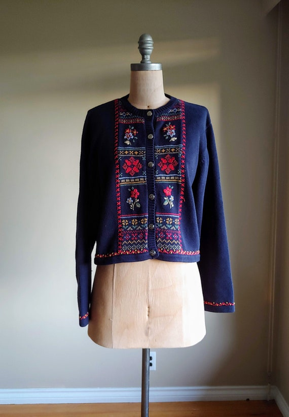 Vintage Laura Ashley Sweater, Folk Art Sweater, Em