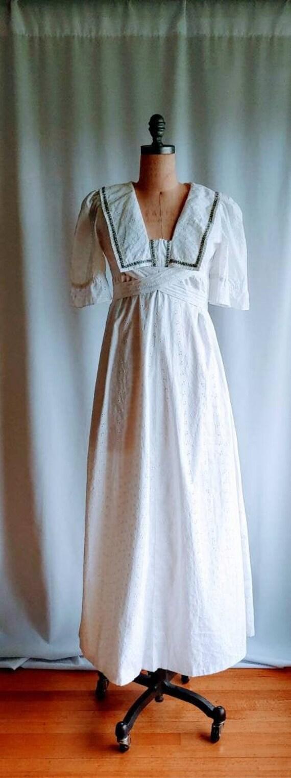 60s Broderie Anglaise cotton maxi wedding dress Gu