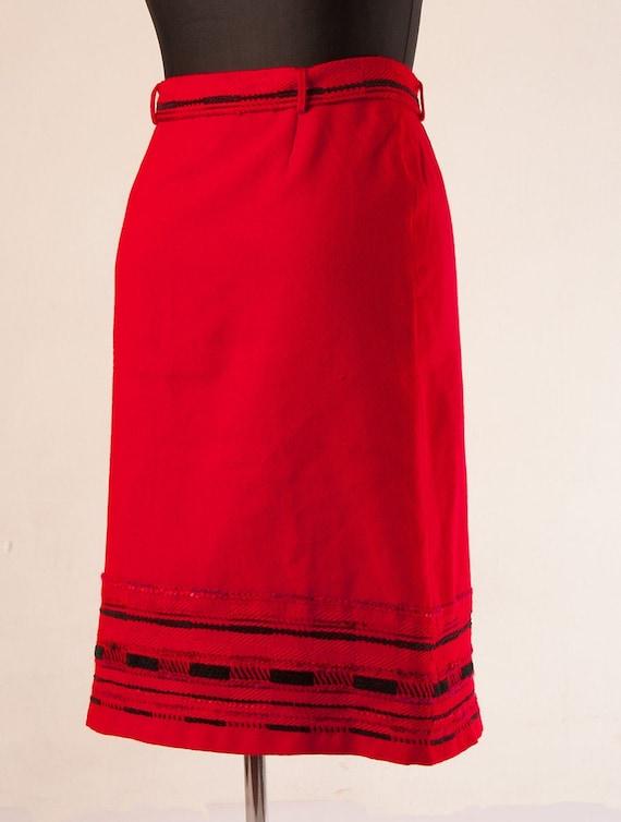 70s Woven Scandinavian Finnish Arola wool skirt