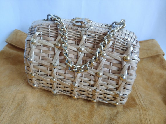 60s Wicker Purse - 1960s Wicker Purse with Studs … - image 3