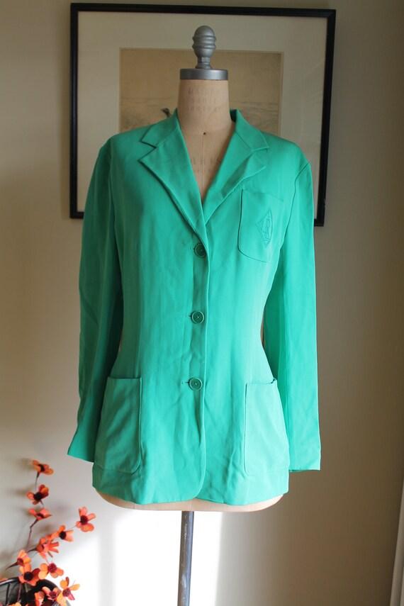 Ralph Lauren Green Silk Blazer - US 12 - Preppy G… - image 3