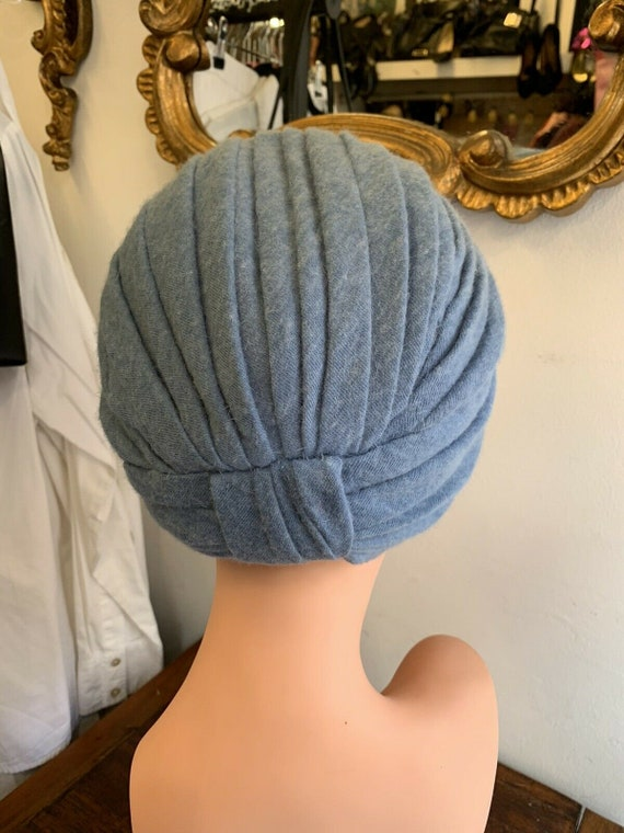 RARE 1960's Pale Blue Retro Turban, Wool Angora H… - image 3