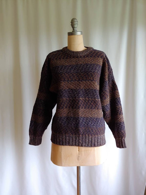 Shetland wool pullover sweater woven texture 80s m