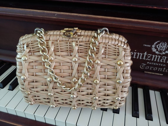 60s Wicker Purse - 1960s Wicker Purse with Studs … - image 2