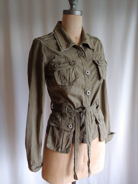 Vintage Guess army khaki safari green fitted belte