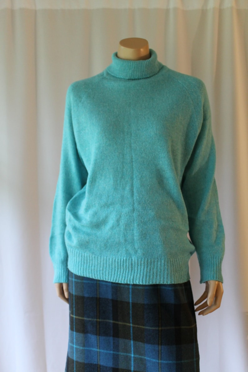 8823de55399 Nicole Curie Silk Angora Aqua Sweater 80s Oversized