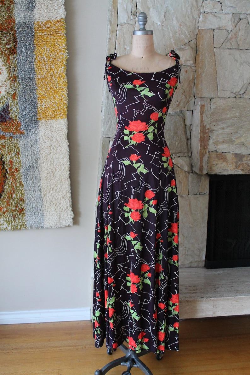 cfa6b713eca The Now Generation Dress Eggplant Floral Dress 60s 70s maxi