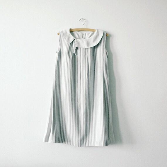 French Gray Linen Smock Dress, Striped Vintage Dre
