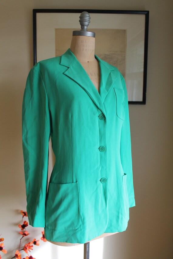 Ralph Lauren Green Silk Blazer - US 12 - Preppy G… - image 4