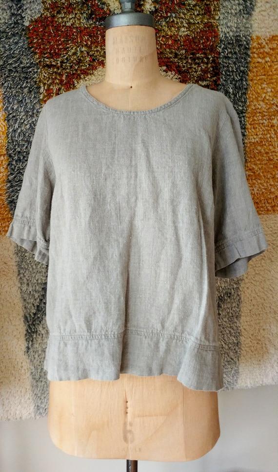 80s Linen Blouse - Flax Shirt - Linen Pullover Blo