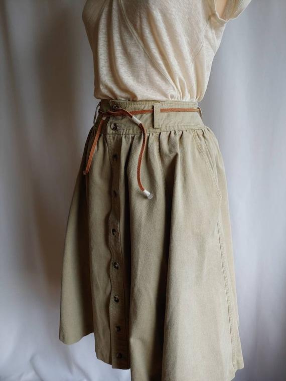 80s denim Ralph Lauren riding skirt cowgirl khaki… - image 5