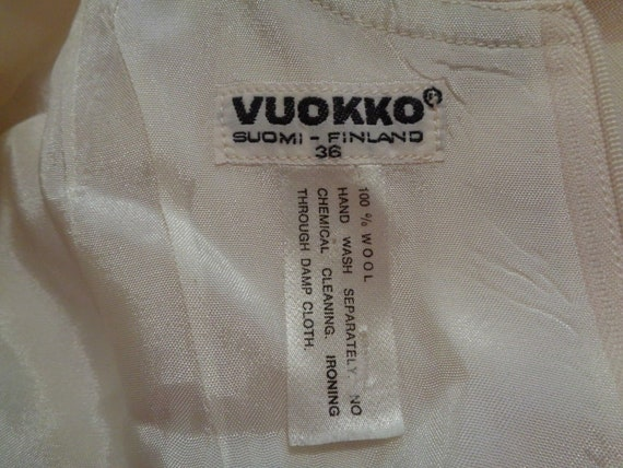70s Vintage Vuokko Cream Polka Dot Sheath Fitted … - image 9