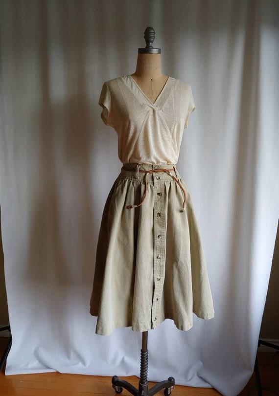 80s denim Ralph Lauren riding skirt cowgirl khaki… - image 1