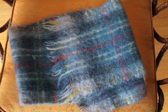 Mohair Scarf, Plaid Scarf, 60s Scottish Mohair Woo