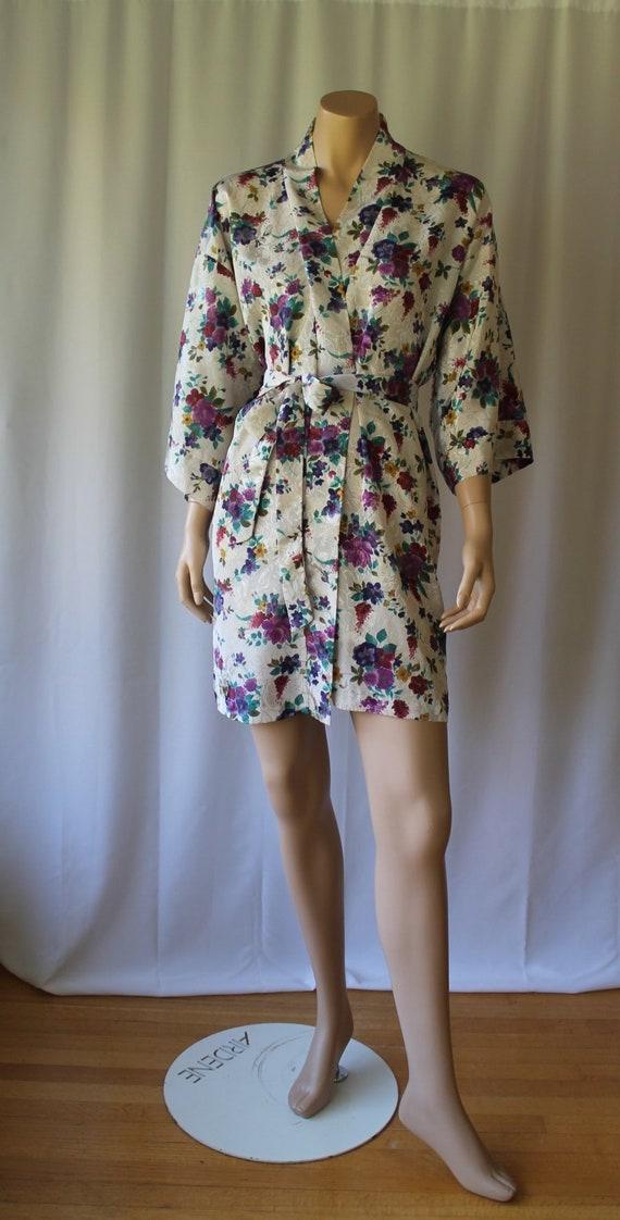 Jewel Toned Kimono / Purple Floral Robe / Vintage