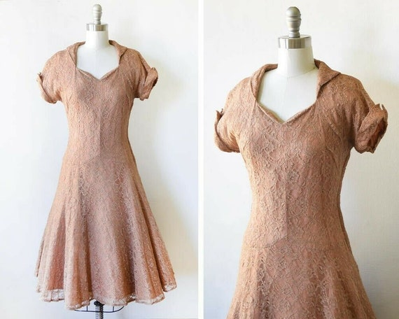 40s Lace Dress - Cocoa Brown Lace Dress - 40s Gown