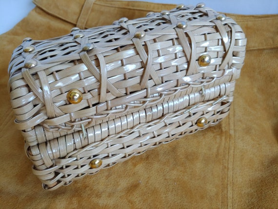 60s Wicker Purse - 1960s Wicker Purse with Studs … - image 7