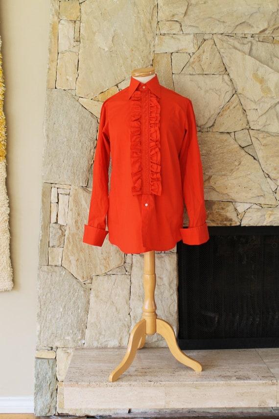 RARE Vintage Mod London Mens Tuxedo Shirt, Embroid