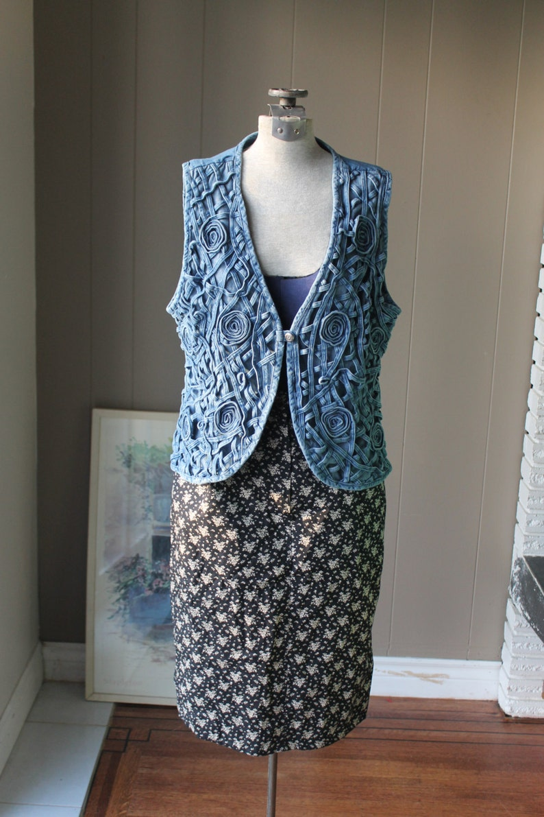 Woven Denim Vest Interlacing denim strips Lace Denim Vest  Pewter Button Medium