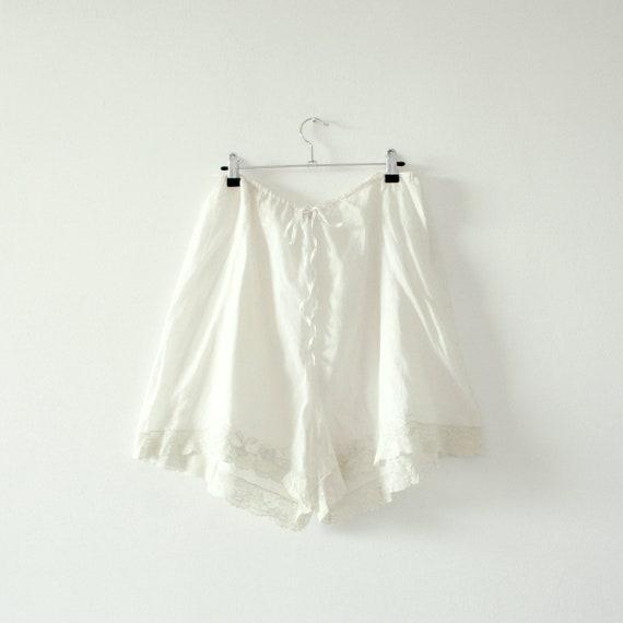 1930s Cream Cotton Lace Shorts . Drawstring Waist