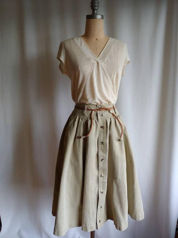 80s denim Ralph Lauren riding skirt cowgirl khaki… - image 2