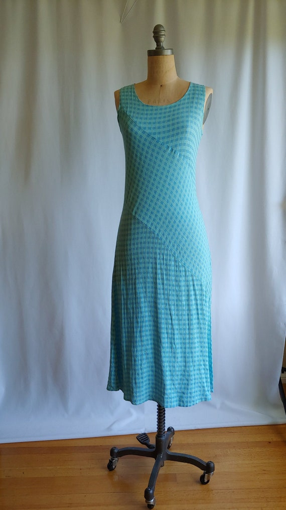 90s Woven Crinkle Rayon Gingham Dress -  Aqua Ging