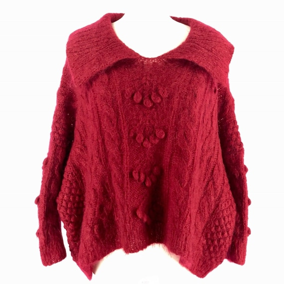 Hand Knit Lagenlook Cable Knit Pullover Mohair Swe