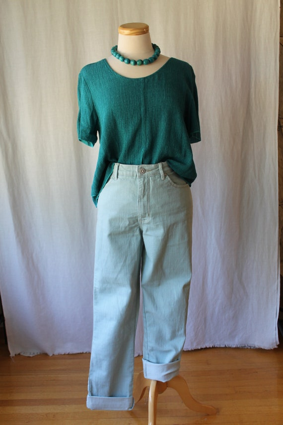 Mint Green Boyfriend Jeans, High Waisted Jeans, Ma