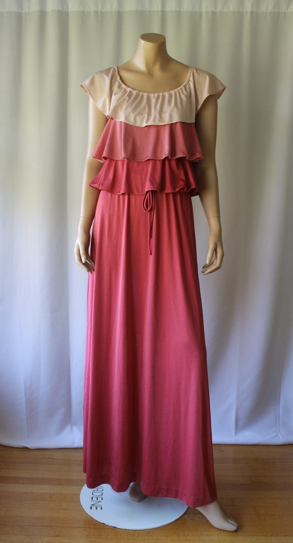 70s Tiered Ruffle Pink Ombre Fairy Kei Knit Lolita