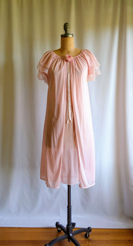 50s 60s Sheer Roses Nightgown - Bridal Peignoir -