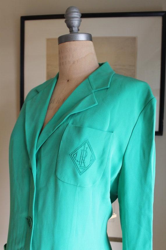 Ralph Lauren Green Silk Blazer - US 12 - Preppy G… - image 6