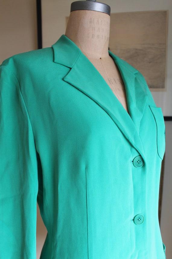 Ralph Lauren Green Silk Blazer - US 12 - Preppy G… - image 8