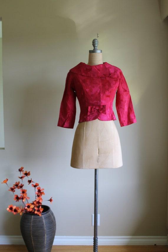 50s Satin Brocade Bolero Jacket, xsmall,  50s Dama