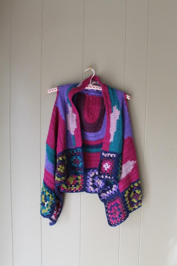 70s Granny Square Vest Crocheted vest handmade Kn… - image 1