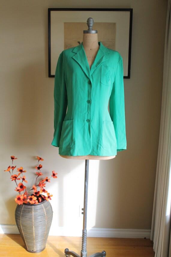 Ralph Lauren Green Silk Blazer - US 12 - Preppy G… - image 2